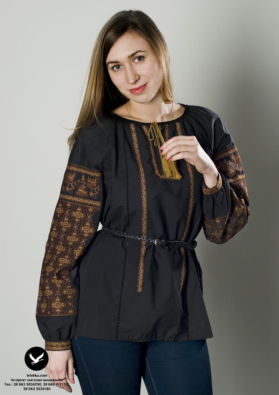 Чорна жіноча вишиванка Кленовий лист з переду. 95be32d1ebe50
