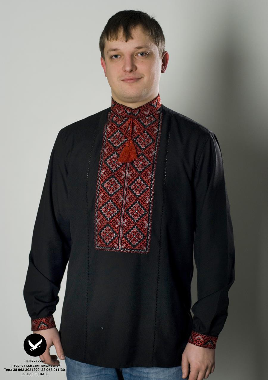 Сучасна чорна вишиванка для чоловіків Пташки з переду. 156ac48de990e